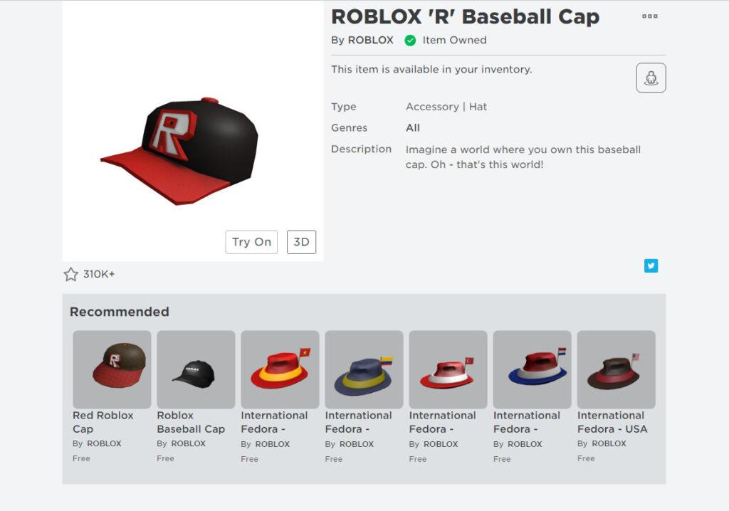 Роблокс: бейсболка