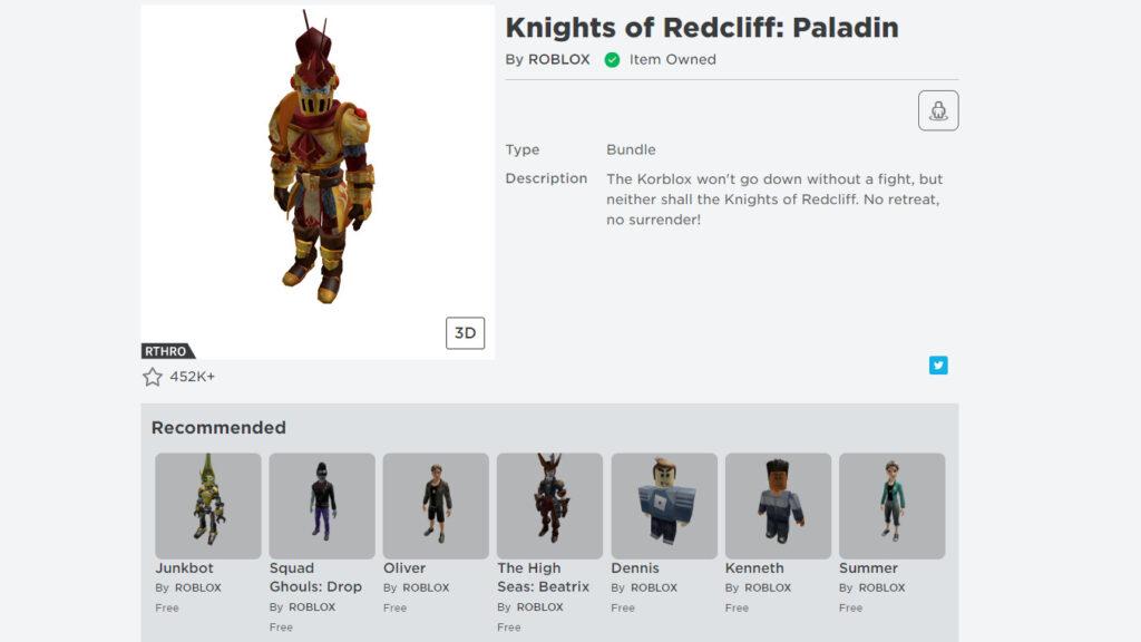 Роблокс: Рыцарь-палладин Редклив
